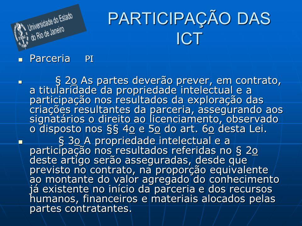 PARTICIPAÇÃO DAS ICT Parceria PI Parceria PI § 2o As partes deverão prever, em contrato, a titularidade da propriedade intelectual e a participação no