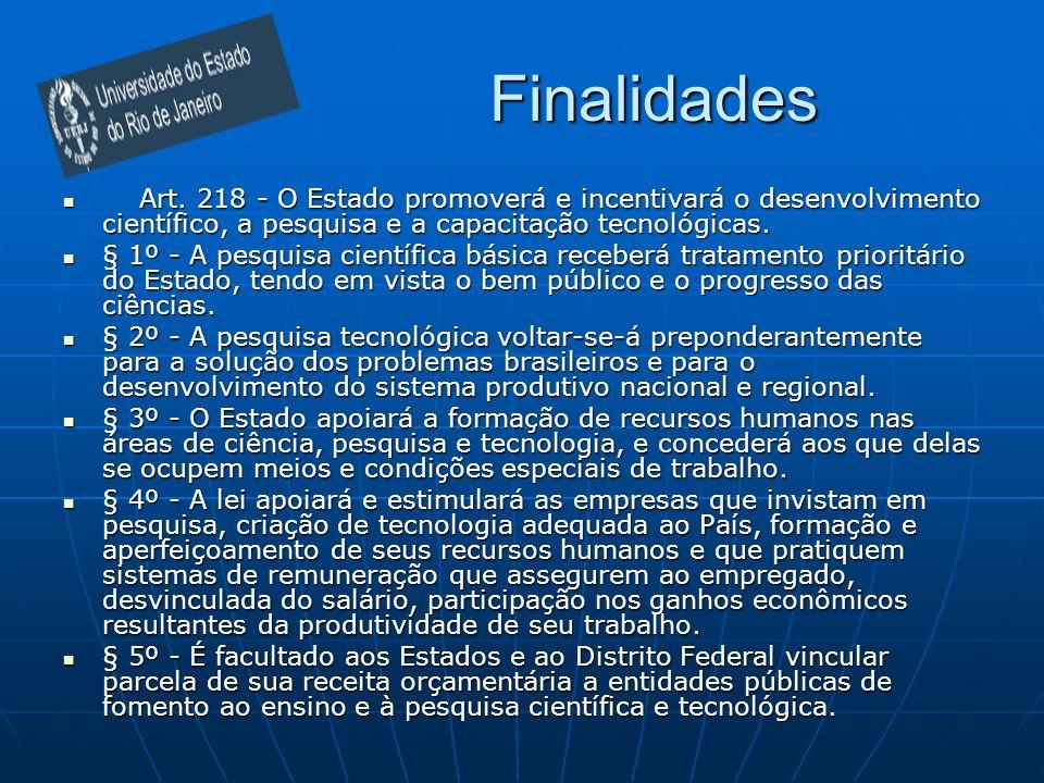 Finalidades Art. 218 - O Estado promoverá e incentivará o desenvolvimento científico, a pesquisa e a capacitação tecnológicas. Art. 218 - O Estado pro