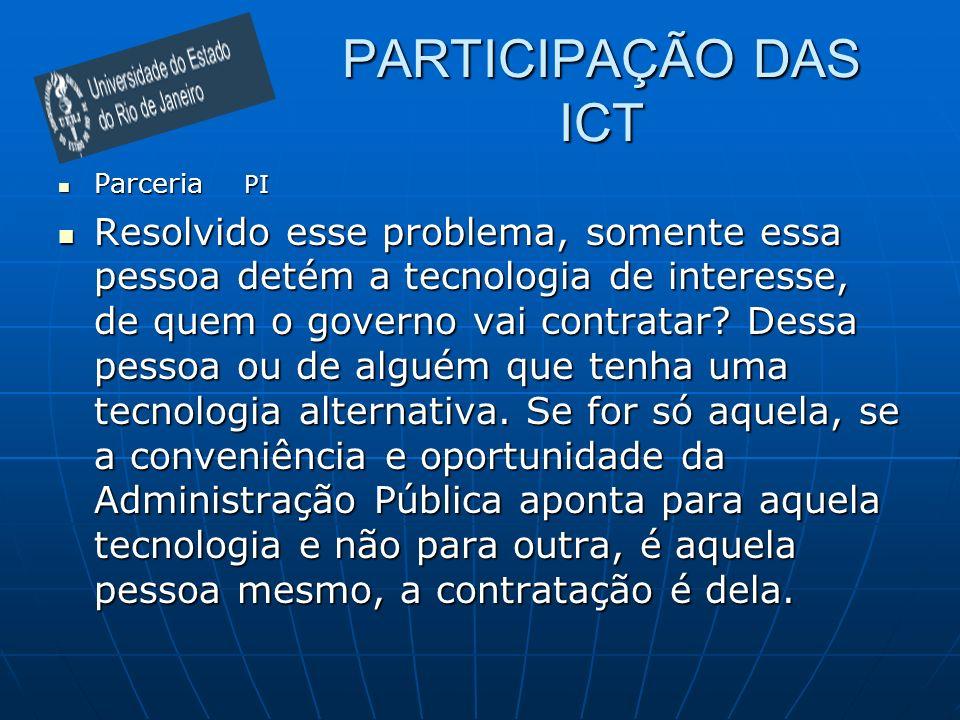 PARTICIPAÇÃO DAS ICT Parceria PI Parceria PI Resolvido esse problema, somente essa pessoa detém a tecnologia de interesse, de quem o governo vai contr
