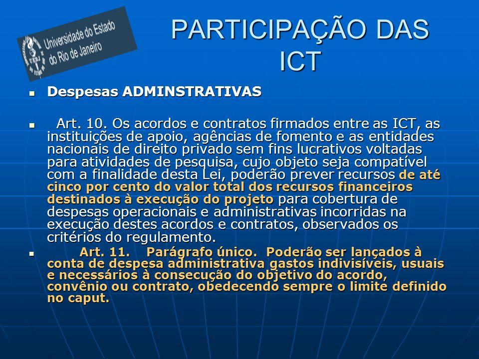 PARTICIPAÇÃO DAS ICT Despesas ADMINSTRATIVAS Despesas ADMINSTRATIVAS Art. 10. Os acordos e contratos firmados entre as ICT, as instituições de apoio,
