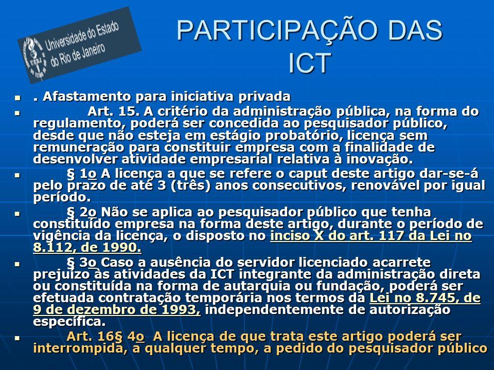 PARTICIPAÇÃO DAS ICT. Afastamento para iniciativa privada. Afastamento para iniciativa privada Art. 15. A critério da administração pública, na forma