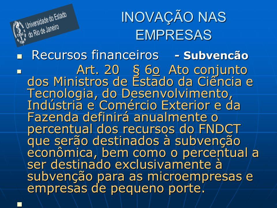 INOVAÇÃO NAS EMPRESAS Recursos financeiros - Subvencão Recursos financeiros - Subvencão Art. 20 § 6o Ato conjunto dos Ministros de Estado da Ciência e