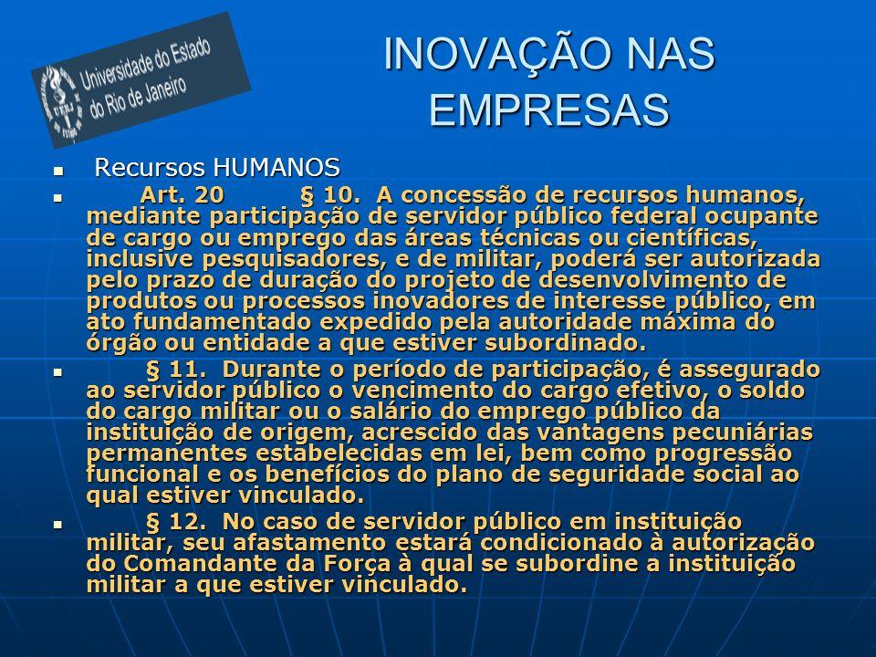 INOVAÇÃO NAS EMPRESAS Recursos HUMANOS Recursos HUMANOS Art. 20 § 10. A concessão de recursos humanos, mediante participação de servidor público feder