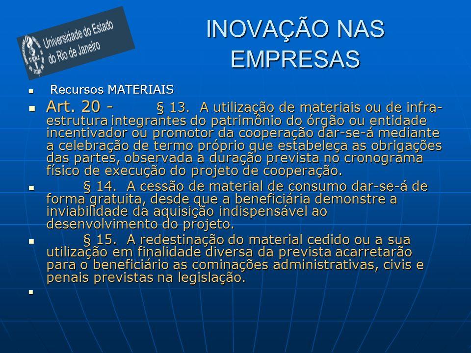 INOVAÇÃO NAS EMPRESAS Recursos MATERIAIS Recursos MATERIAIS Art. 20 - § 13. A utilização de materiais ou de infra- estrutura integrantes do patrimônio