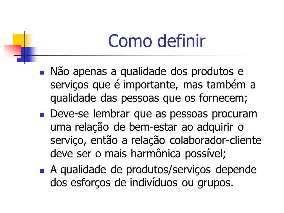 Tipos de qualidade Qualidade pessoal; Qualidade departamental; Qualidade de produtos; Qualidade de serviço; Qualidade da empresa.
