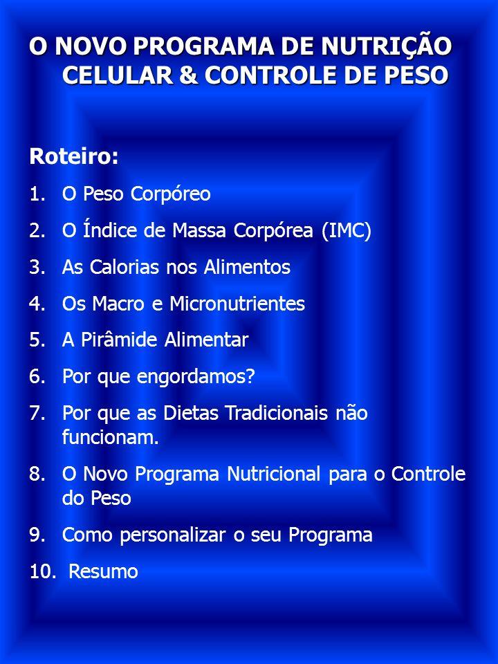 O NOVO PROGRAMA DE NUTRIÇÃO CELULAR & CONTROLE DE PESO Roteiro: 1.O Peso Corpóreo 2.O Índice de Massa Corpórea (IMC) 3.As Calorias nos Alimentos 4.Os