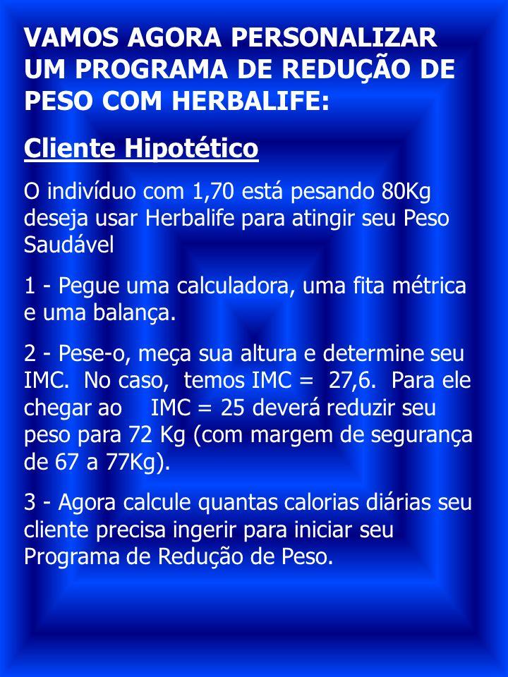 VAMOS AGORA PERSONALIZAR UM PROGRAMA DE REDUÇÃO DE PESO COM HERBALIFE: Cliente Hipotético O indivíduo com 1,70 está pesando 80Kg deseja usar Herbalife