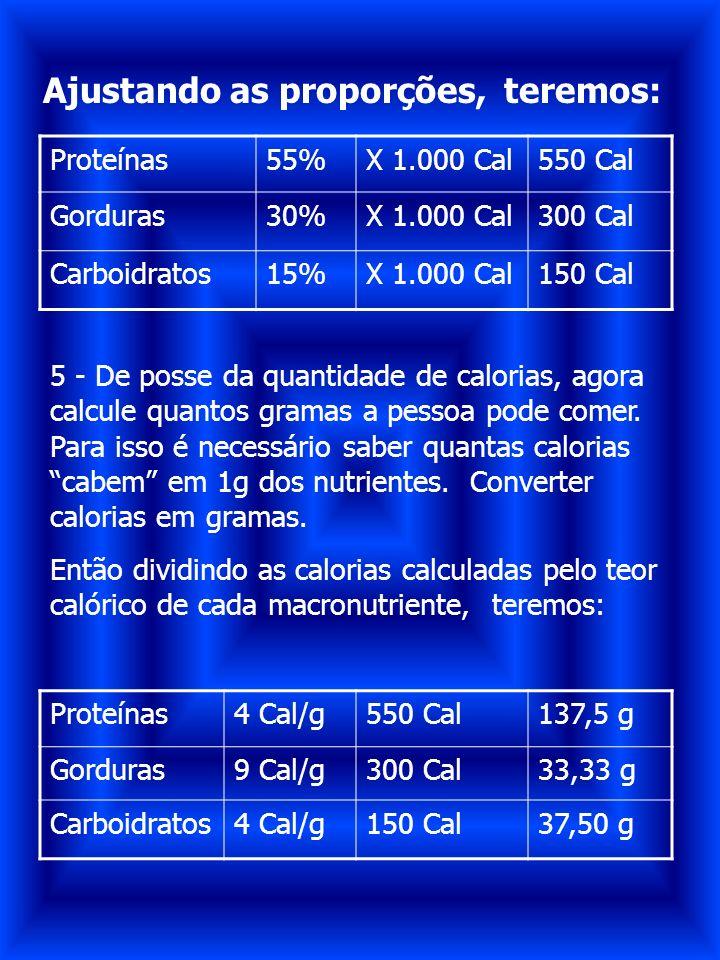Proteínas55%X 1.000 Cal550 Cal Gorduras30%X 1.000 Cal300 Cal Carboidratos15%X 1.000 Cal150 Cal Ajustando as proporções, teremos: 5 - De posse da quant