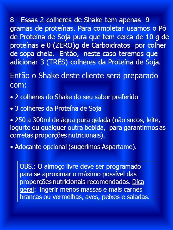 8 - Essas 2 colheres de Shake tem apenas 9 gramas de proteínas. Para completar usamos o Pó de Proteína de Soja pura que tem cerca de 10 g de proteínas