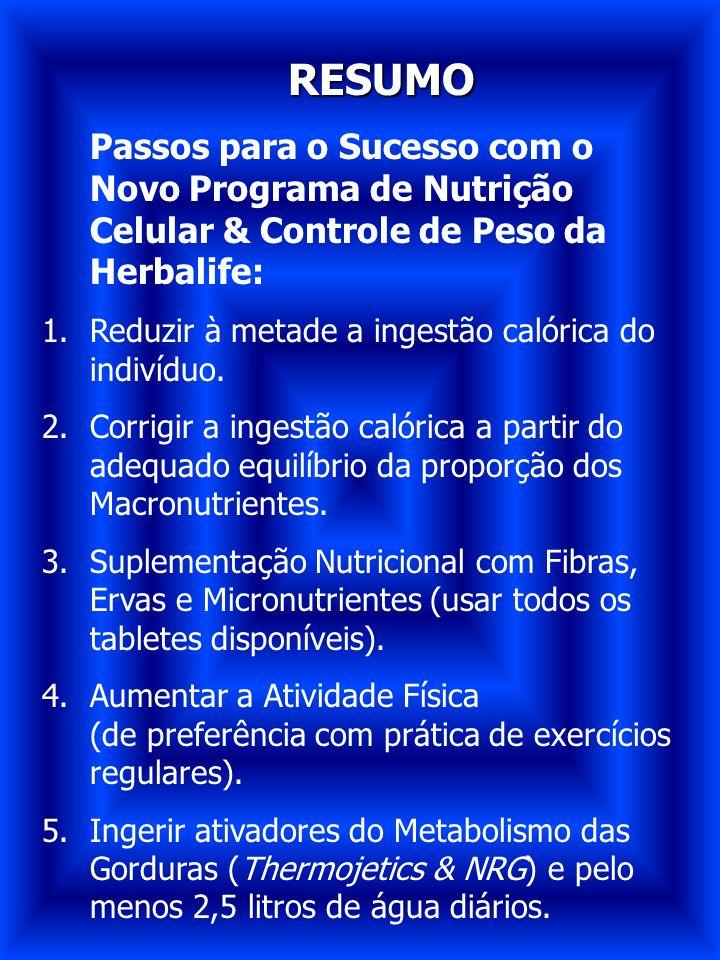 RESUMO Passos para o Sucesso com o Novo Programa de Nutrição Celular & Controle de Peso da Herbalife: 1.Reduzir à metade a ingestão calórica do indiví