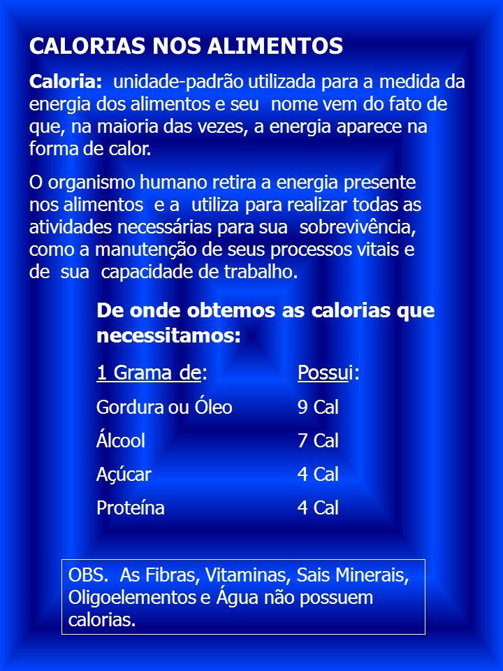 CALORIAS NOS ALIMENTOS Caloria: unidade-padrão utilizada para a medida da energia dos alimentos e seu nome vem do fato de que, na maioria das vezes, a