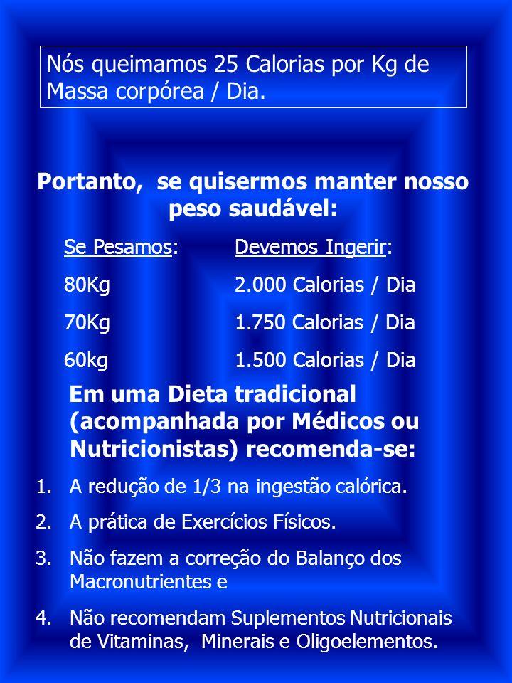 Portanto, se quisermos manter nosso peso saudável: Se Pesamos:Devemos Ingerir: 80Kg2.000 Calorias / Dia 70Kg1.750 Calorias / Dia 60kg1.500 Calorias /
