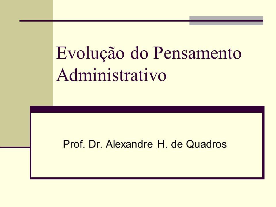 Evolução do Pensamento Administrativo Prof. Dr. Alexandre H. de Quadros
