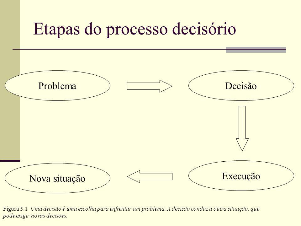 Problema Causas do problema Um análise global do processo Diagnóstico Busca de novas idéias Alternativas Alternativas possíveis Decisões cabíveis Avaliação Processo decisório