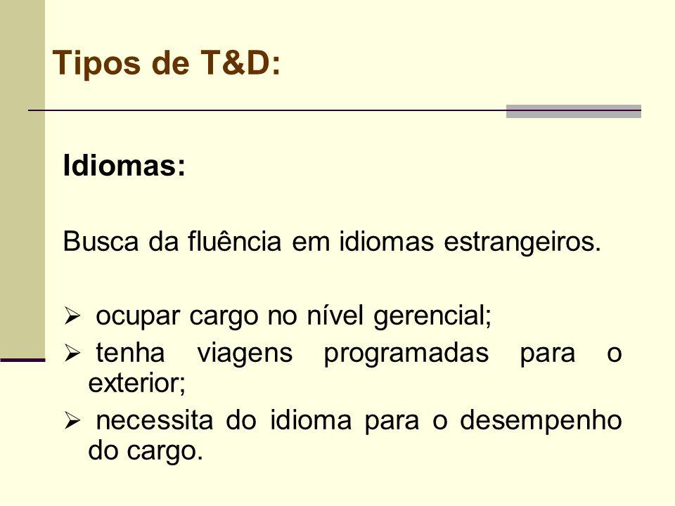 Tipos de T&D: Idiomas: Busca da fluência em idiomas estrangeiros. ocupar cargo no nível gerencial; tenha viagens programadas para o exterior; necessit