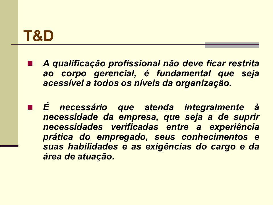 T&D A qualificação profissional não deve ficar restrita ao corpo gerencial, é fundamental que seja acessível a todos os níveis da organização. É neces