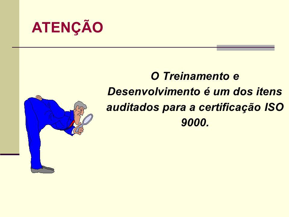 ATENÇÃO O Treinamento e Desenvolvimento é um dos itens auditados para a certificação ISO 9000.