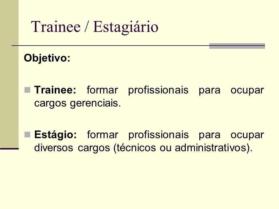 Trainee / Estagiário Objetivo: Trainee: formar profissionais para ocupar cargos gerenciais. Estágio: formar profissionais para ocupar diversos cargos