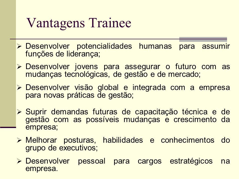 Vantagens Trainee Desenvolver potencialidades humanas para assumir funções de liderança; Desenvolver jovens para assegurar o futuro com as mudanças te