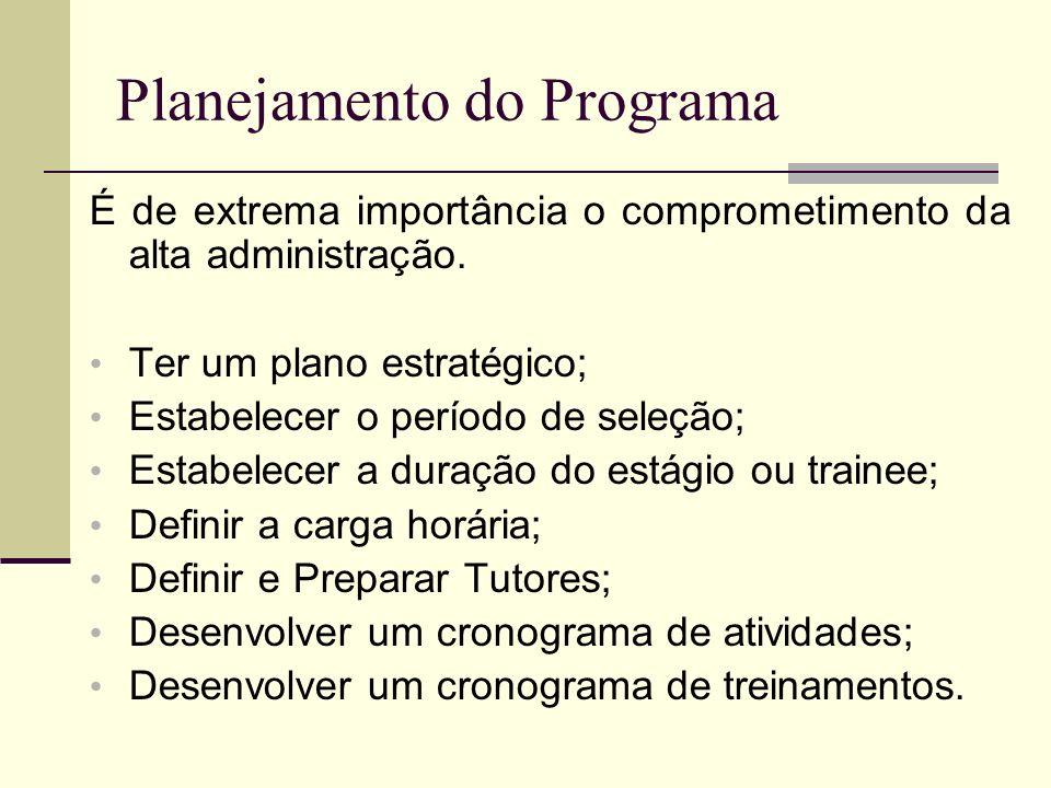Planejamento do Programa É de extrema importância o comprometimento da alta administração. Ter um plano estratégico; Estabelecer o período de seleção;