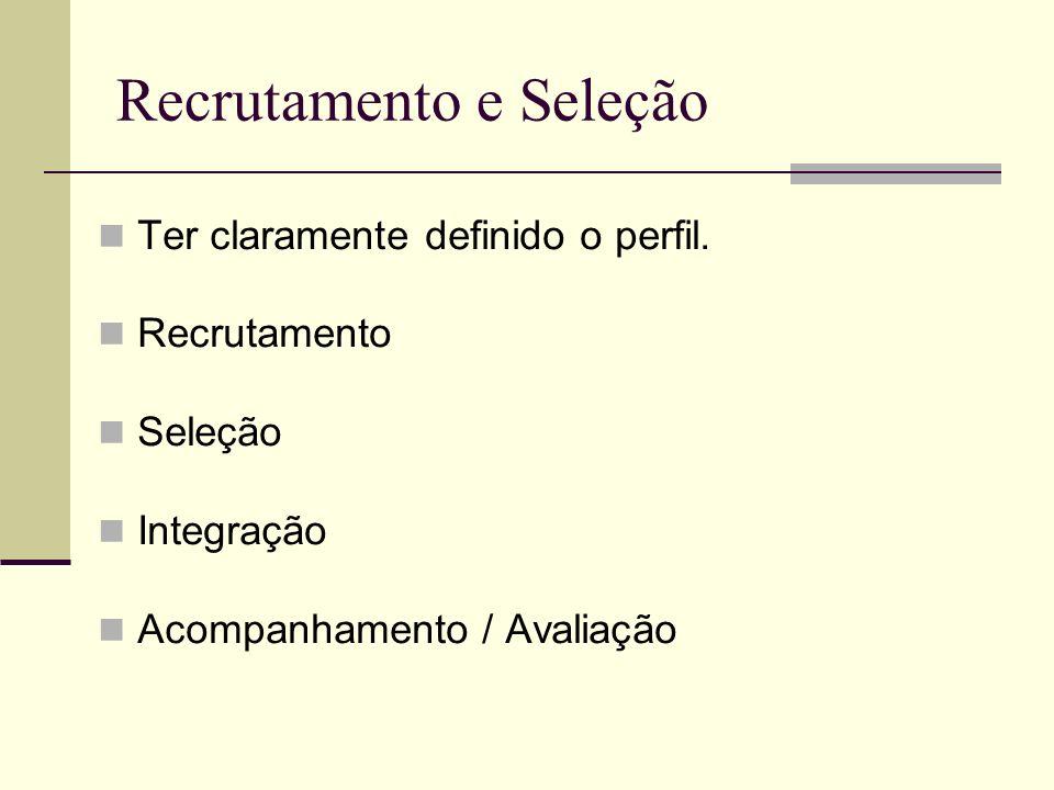 Recrutamento e Seleção Ter claramente definido o perfil. Recrutamento Seleção Integração Acompanhamento / Avaliação