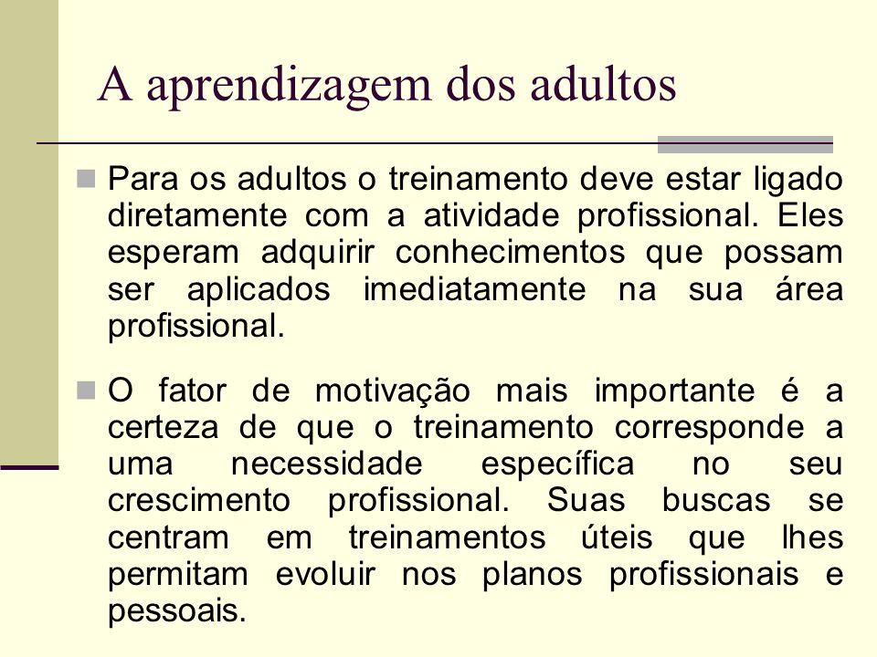 A aprendizagem dos adultos Para os adultos o treinamento deve estar ligado diretamente com a atividade profissional. Eles esperam adquirir conheciment