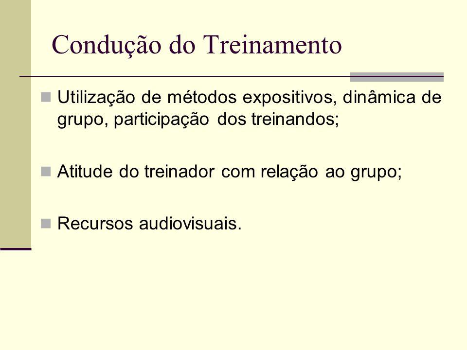 Condução do Treinamento Utilização de métodos expositivos, dinâmica de grupo, participação dos treinandos; Atitude do treinador com relação ao grupo;