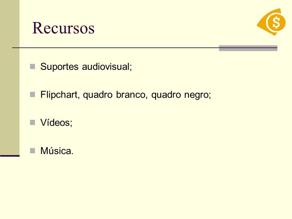 Recursos Suportes audiovisual; Flipchart, quadro branco, quadro negro; Vídeos; Música.