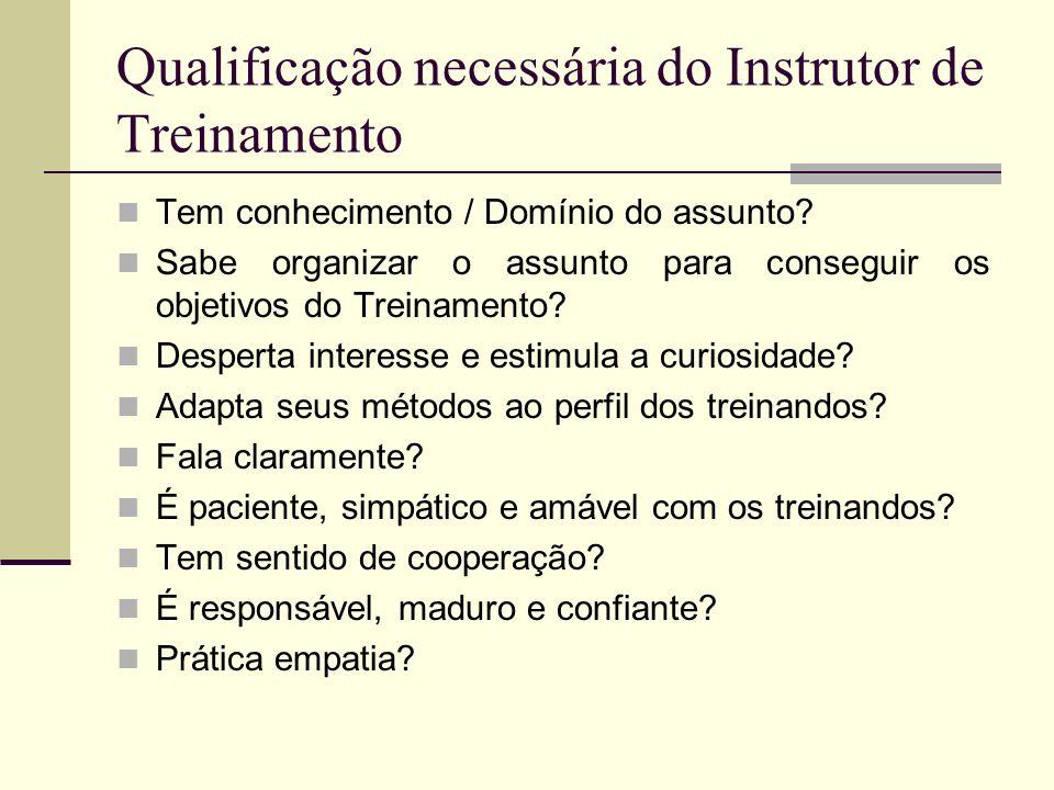 Qualificação necessária do Instrutor de Treinamento Tem conhecimento / Domínio do assunto? Sabe organizar o assunto para conseguir os objetivos do Tre