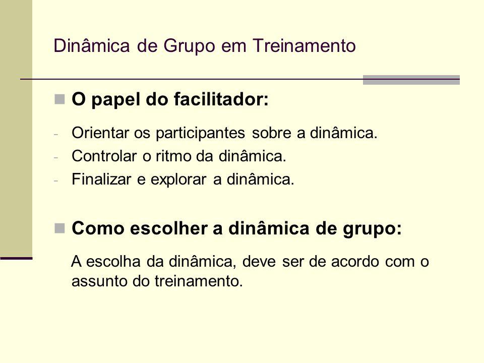 Dinâmica de Grupo em Treinamento O papel do facilitador: - Orientar os participantes sobre a dinâmica. - Controlar o ritmo da dinâmica. - Finalizar e