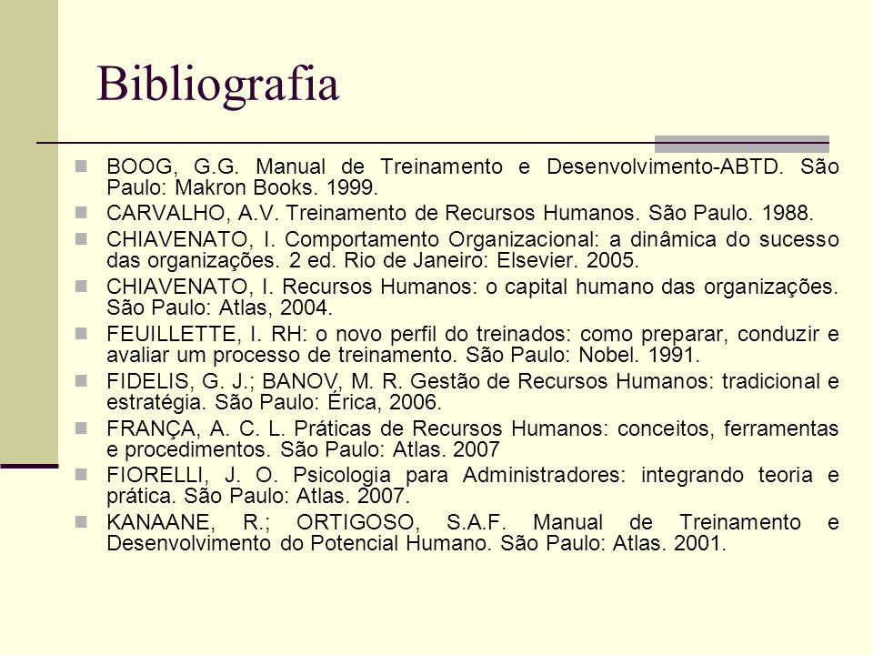Bibliografia BOOG, G.G. Manual de Treinamento e Desenvolvimento-ABTD. São Paulo: Makron Books. 1999. CARVALHO, A.V. Treinamento de Recursos Humanos. S