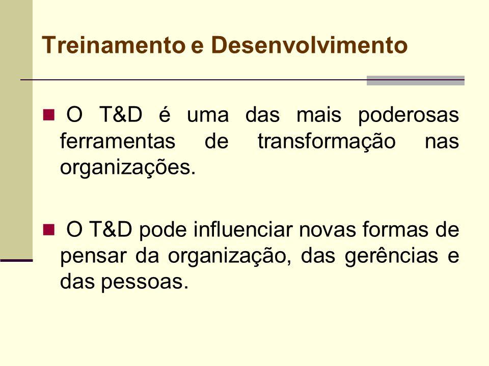 Treinamento e Desenvolvimento O T&D é uma das mais poderosas ferramentas de transformação nas organizações. O T&D pode influenciar novas formas de pen