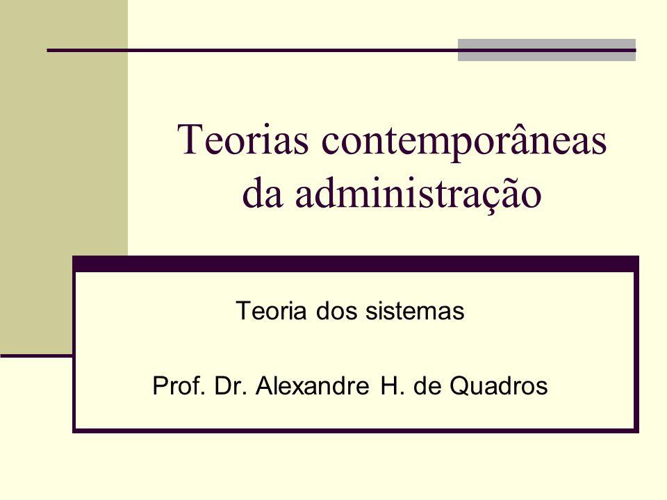 Teorias contemporâneas da administração Teoria dos sistemas Prof. Dr. Alexandre H. de Quadros