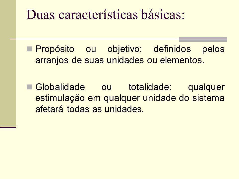 Duas características básicas: Propósito ou objetivo: definidos pelos arranjos de suas unidades ou elementos. Globalidade ou totalidade: qualquer estim