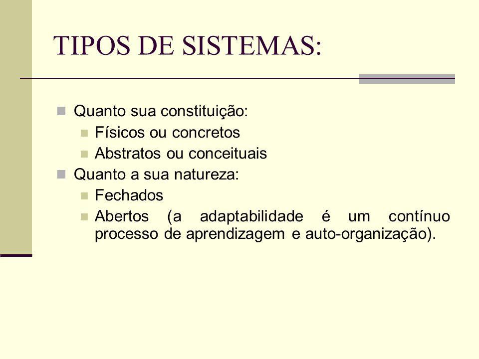TIPOS DE SISTEMAS: Quanto sua constituição: Físicos ou concretos Abstratos ou conceituais Quanto a sua natureza: Fechados Abertos (a adaptabilidade é