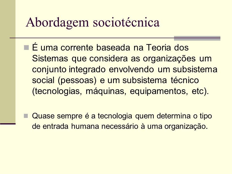Abordagem sociotécnica É uma corrente baseada na Teoria dos Sistemas que considera as organizações um conjunto integrado envolvendo um subsistema soci