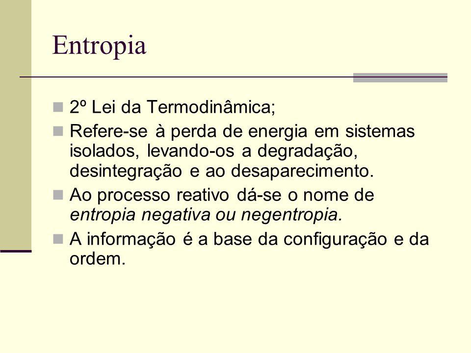 Entropia 2º Lei da Termodinâmica; Refere-se à perda de energia em sistemas isolados, levando-os a degradação, desintegração e ao desaparecimento. Ao p
