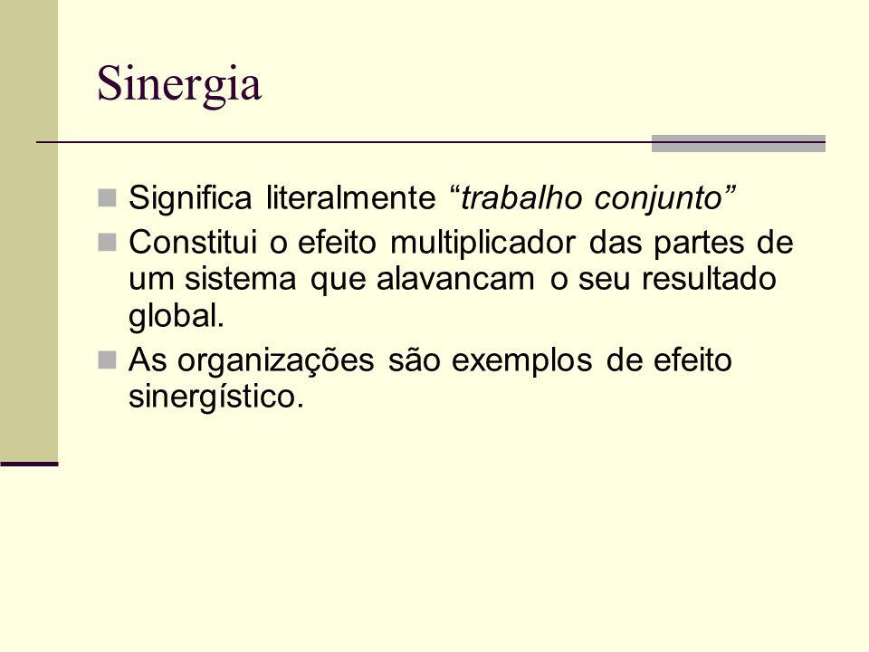 Sinergia Significa literalmente trabalho conjunto Constitui o efeito multiplicador das partes de um sistema que alavancam o seu resultado global. As o