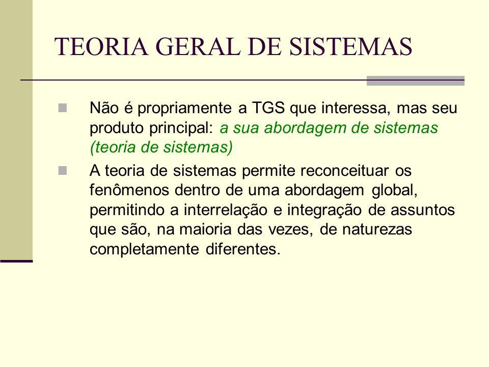 TEORIA GERAL DE SISTEMAS Não é propriamente a TGS que interessa, mas seu produto principal: a sua abordagem de sistemas (teoria de sistemas) A teoria