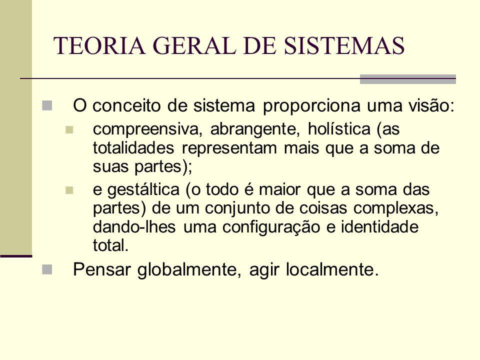 TEORIA GERAL DE SISTEMAS O conceito de sistema proporciona uma visão: compreensiva, abrangente, holística (as totalidades representam mais que a soma