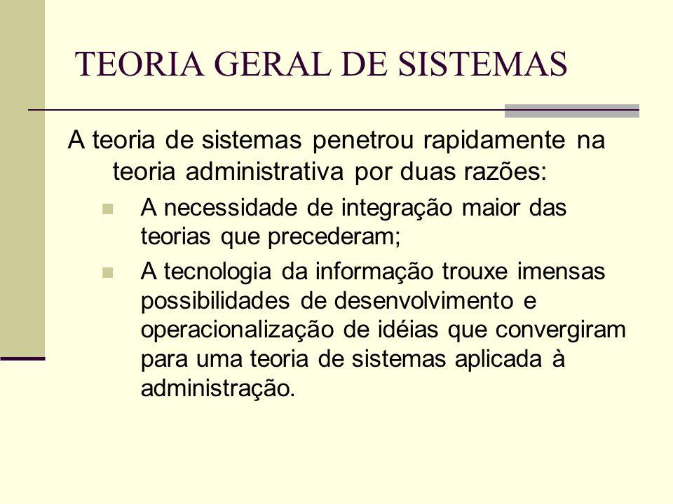 TEORIA GERAL DE SISTEMAS A teoria de sistemas penetrou rapidamente na teoria administrativa por duas razões: A necessidade de integração maior das teo