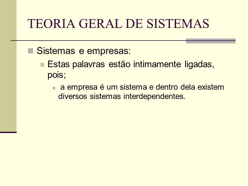 TEORIA GERAL DE SISTEMAS Sistemas e empresas: Estas palavras estão intimamente ligadas, pois; a empresa é um sistema e dentro dela existem diversos si
