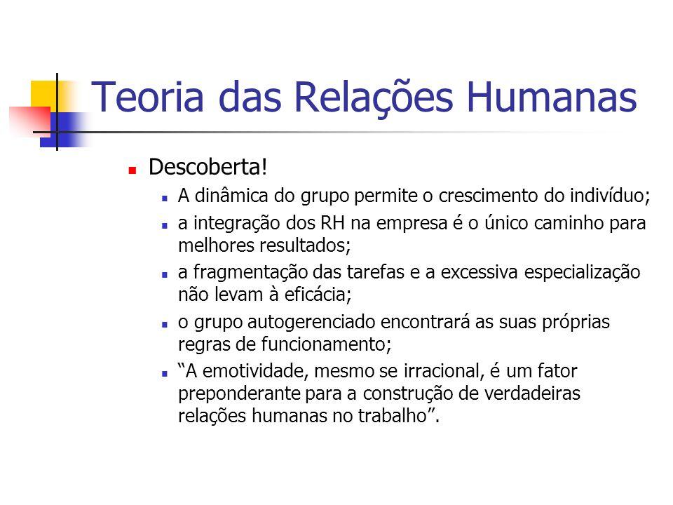 Teoria das Relações Humanas Descoberta! A dinâmica do grupo permite o crescimento do indivíduo; a integração dos RH na empresa é o único caminho para