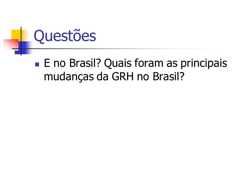 Questões E no Brasil? Quais foram as principais mudanças da GRH no Brasil?