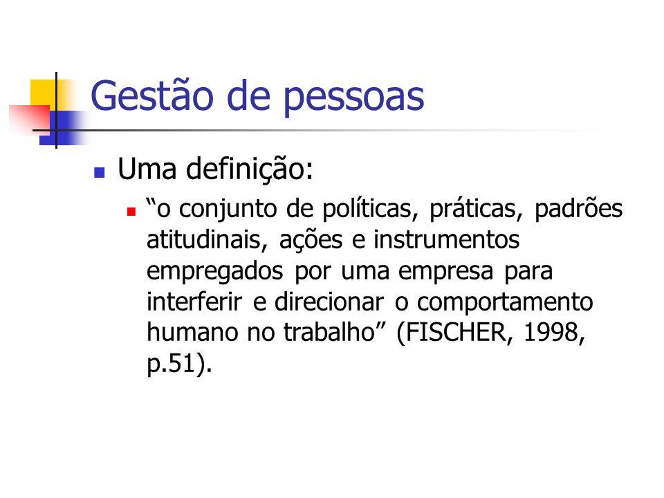 Gestão de pessoas Uma definição: o conjunto de políticas, práticas, padrões atitudinais, ações e instrumentos empregados por uma empresa para interfer