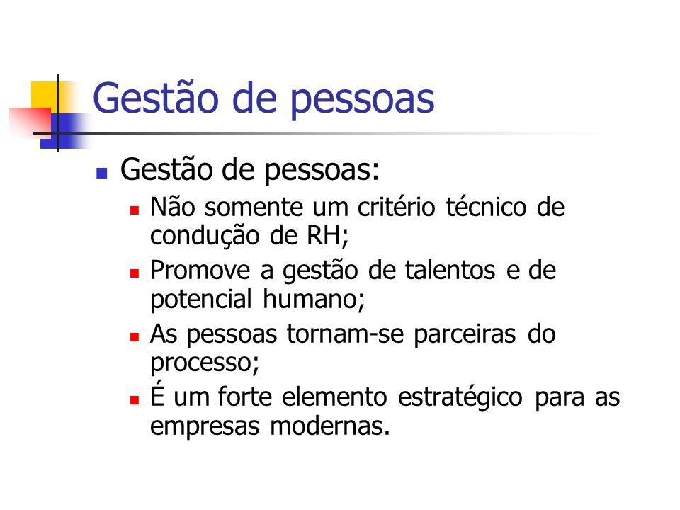 Gestão de pessoas Gestão de pessoas: Não somente um critério técnico de condução de RH; Promove a gestão de talentos e de potencial humano; As pessoas