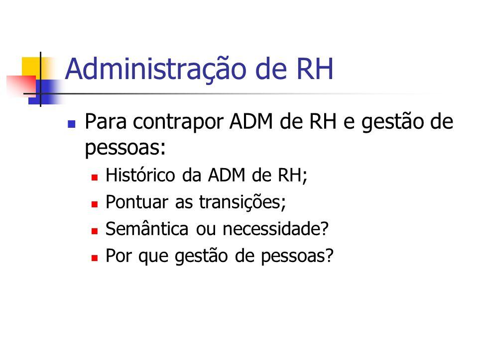 Administração de RH Para contrapor ADM de RH e gestão de pessoas: Histórico da ADM de RH; Pontuar as transições; Semântica ou necessidade? Por que ges