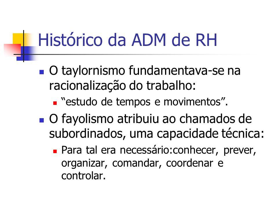 Histórico da ADM de RH O taylornismo fundamentava-se na racionalização do trabalho: estudo de tempos e movimentos. O fayolismo atribuiu ao chamados de
