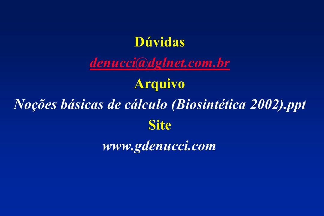 Dúvidas denucci@dglnet.com.br Arquivo Noções básicas de cálculo (Biosintética 2002).ppt Site www.gdenucci.com