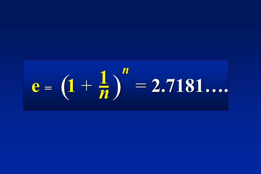 e = 1 + = 2.7181…. 1n1n 1n1n n n